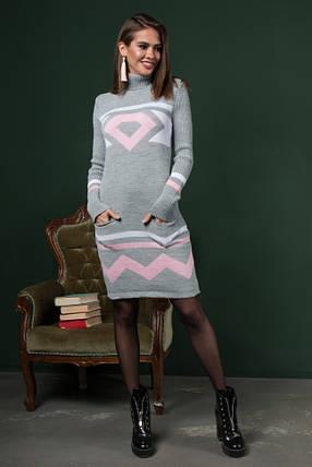 Теплые вязаные платья Диамант светло-серый -розовый-белый, фото 2