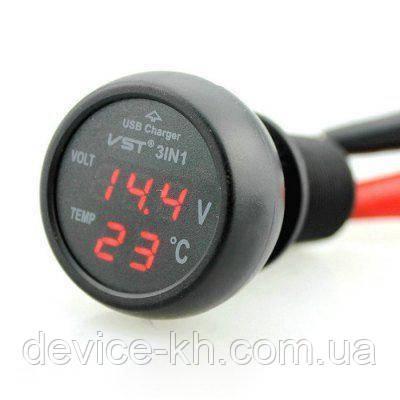 Автомобильный термометр - вольтметр - USB VST 706