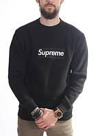 Свитшот чёрный Supreme логотип вышит | Оригинальная бирка