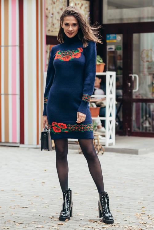 Платье вязаное короткое Веночек синий-алый