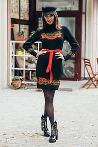 Теплые вязаные платья Веночек черный-алый