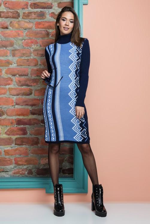 Вязаное платье женское Корица (синий, голубой, белый)