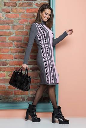 Вязаное платье женское Корица (графит, розовый, черный), фото 2