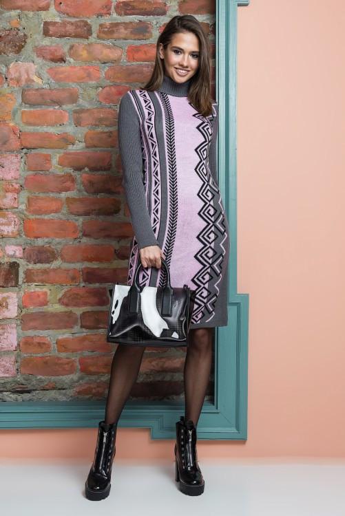 Вязаное платье женское Корица (графит, розовый, черный)
