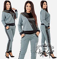 """Женский повседневный костюм больших размеров """" Вставки экокожа """"  Dress Code, фото 1"""