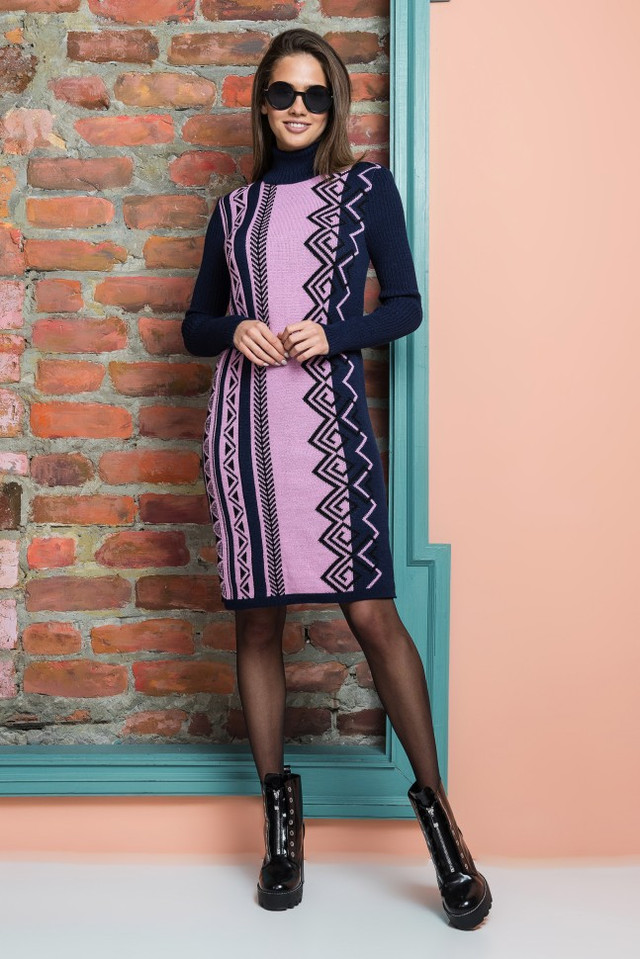 Вязаное платье Корица (синий, пудра, черный)