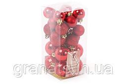 Набор елочных шаров микс, цвет -красный, 52 шт: 4cм - глянец, глитер; 3см - глянец