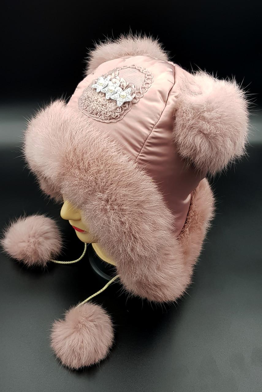 Шапка ушанка детская для девочки Klaus Кролик 50-52 Тёмная Пудра  (050)