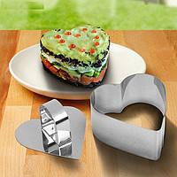 Сервировочная кулинарная форма с прессом Сердце Мousse mold