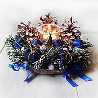 Новогодний подсвечник с хвоей и шишками Рождественский декор ручной работы