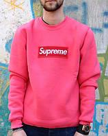 Свитшот розовый Supreme логотип вышит   Кофта стильная   Оригинальная бирка