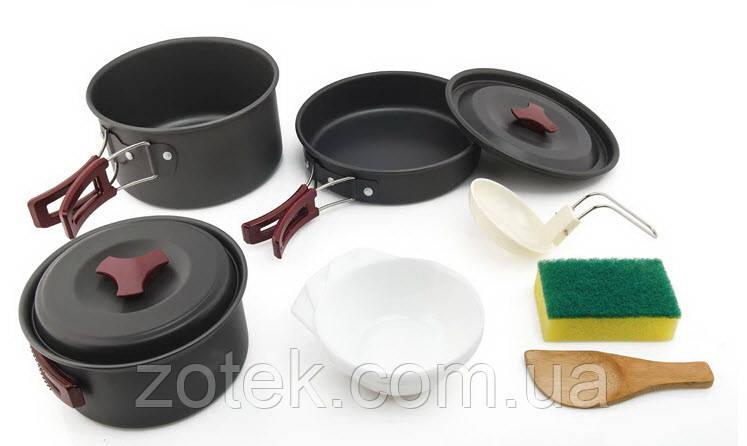 Набор посуды AL-300 на 2-3 человек, из анодированного алюминия, комплект туристический походный кемпинг DS-300
