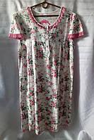 Ночная рубашка с цветочным принтом/ кружевом женская батальная (2XL/52), фото 1