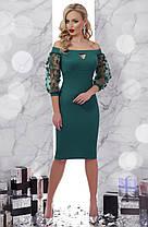 Платье красное  стильное с сеточкой и легким шиммером новогоднее нарядное коктейльное 42 44 46, фото 2