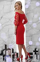 Платье красное  стильное с сеточкой и легким шиммером новогоднее нарядное коктейльное 42 44 46, фото 3