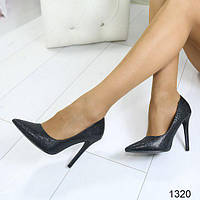 Эффектные туфли лодочки классические черные, женская обувь
