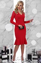 Платье русалка ниже колена с V- образным вырезом вечернее коктейльное 42 44 46, фото 2