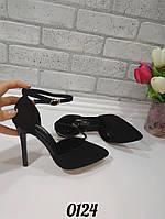 Туфли черные замшевые открытые, женская демисезонная обувь