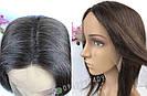 Натуральный парик каре шоколад. Сетка на проборе, имитация кожи., фото 7