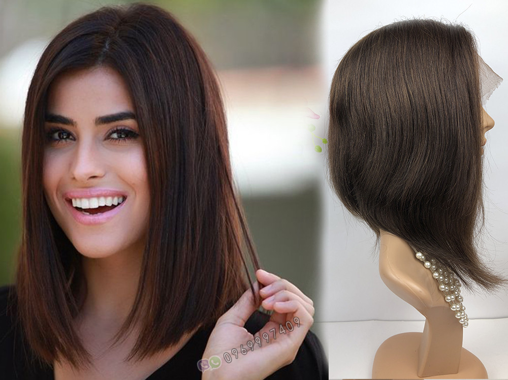 УЦЕНКА! Коричневый натуральный парик каре. Сетка на проборе, имитация кожи.