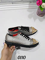 Туфли ботинки женские с золотым носочком, женская обувь