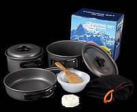 Набор посуды DS-300 на 2-3 человек, из анодированного алюминия, комплект туристический походный кемпинг