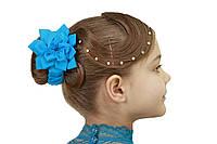 Резинка для волос  голубой цветок