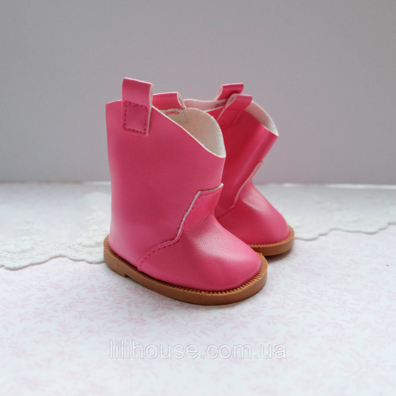Обувь для кукол Сапожки 7.5*4 см ЯРКО-РОЗОВЫЕ