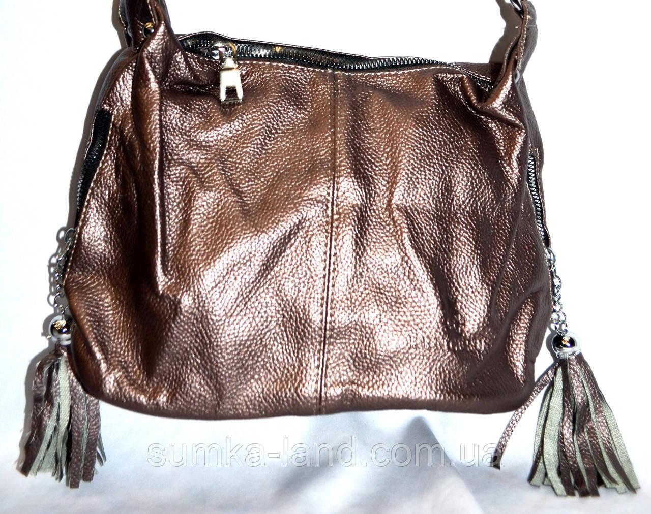 Женский бронзовый клатч из искусственной кожи 26*18 см