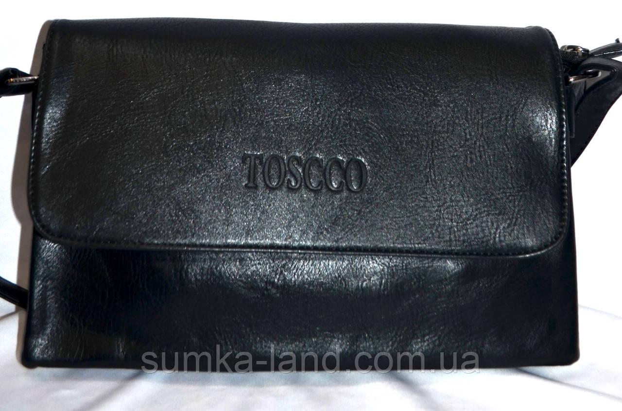 Женский черный клатч Toscco из искусственной кожи 28*17 см (3 отдела внутри)