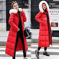 Стёганый женский зимний пуховик-пальто ниже колен с белым мехом