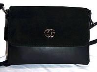 Женский черный клатч из натуральной замши на 2 отделения 26*16 см (3 отдела внутри), фото 1