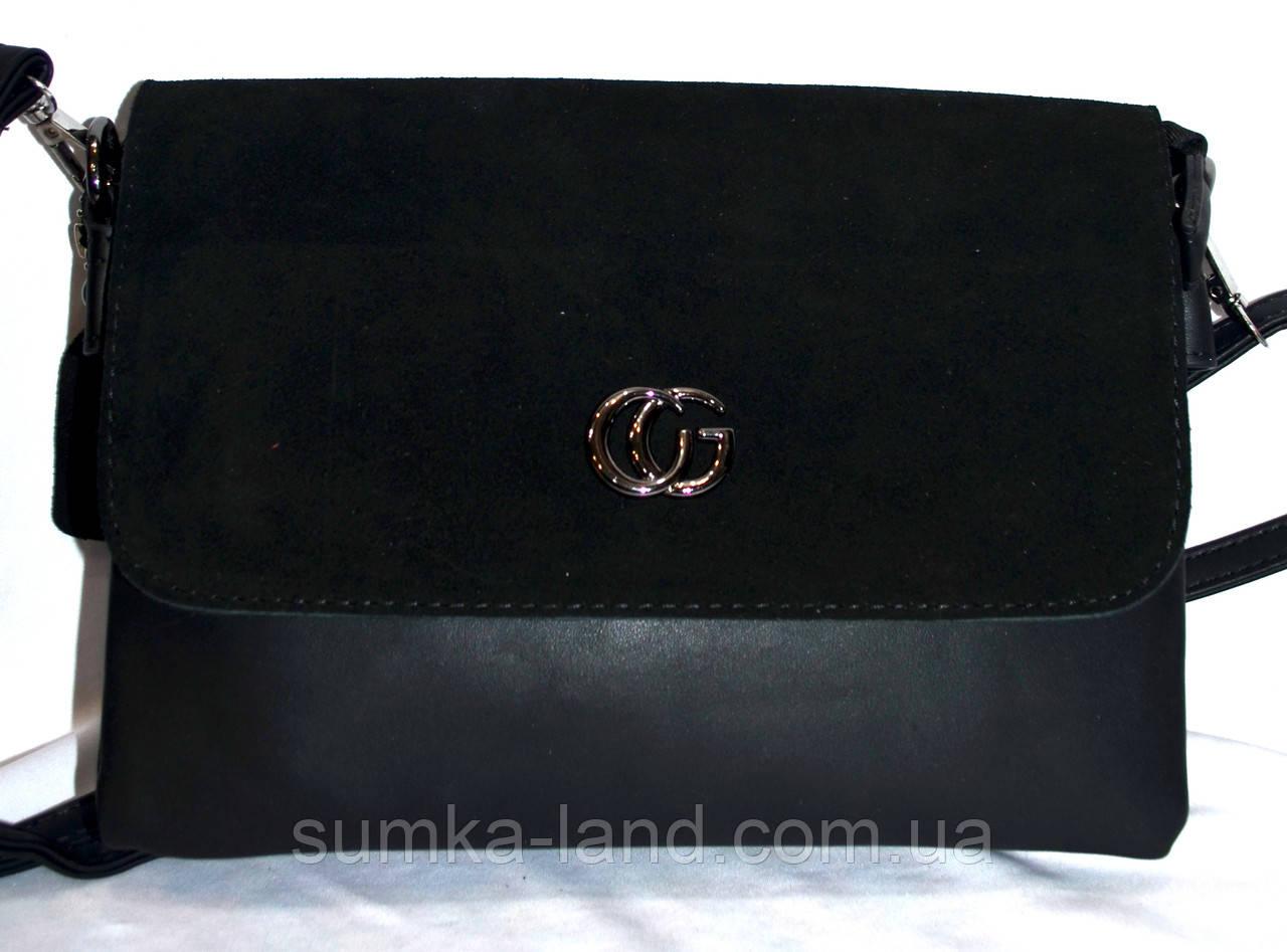 Женский черный клатч из натуральной замши на 2 отделения 26*16 см (3 отдела внутри)
