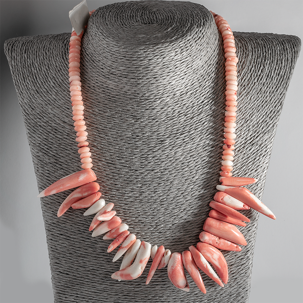 Коралл розовый, колье, 117ОК