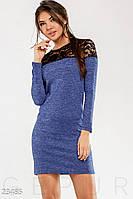 Женское ангоровое платье с гипюровым верхом