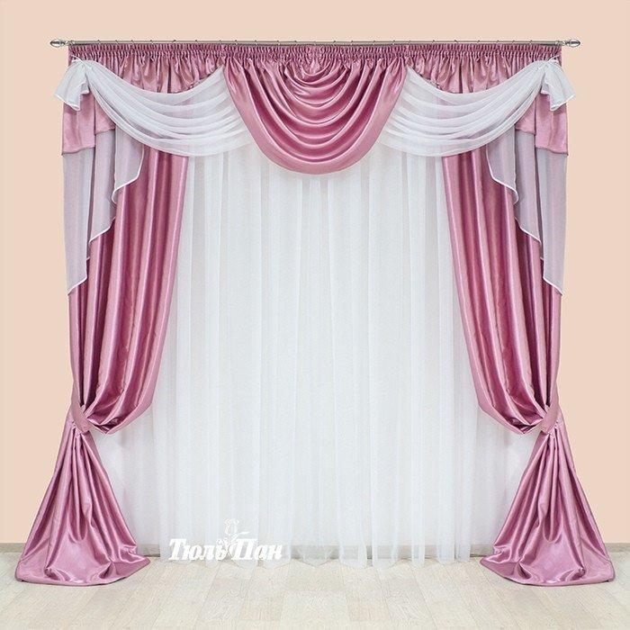 Ламбрекен зі шторами Рожевий + Білий