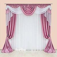 Ламбрекен со шторами   Розовый + Белый