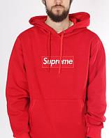 Худи красная Supreme логотип вышит | Толстовка стильная с биркой