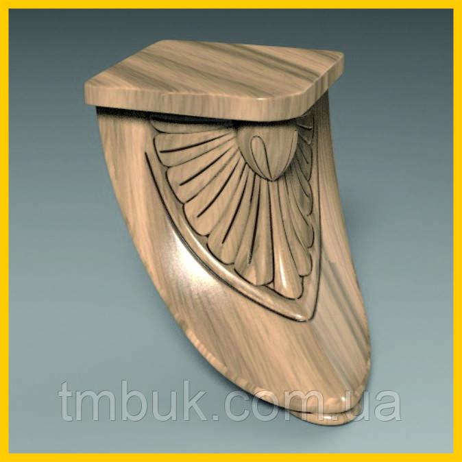 Ножка для тумбы гнутая в форме лепестка из дерева. Опора мебельная резная с площадкой. Ясень.100 мм.