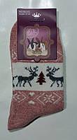 Термо носки шерстяные женские с оленями