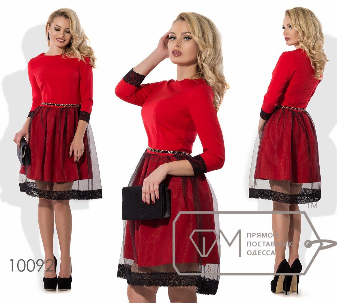 0861bca2eaa Красное приталенное платье с черным фатином на пышной юбке-колокольчик.  Арт-3236