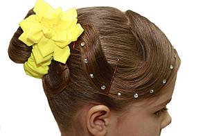 Резинка для волос желтая, цветок для танцкв