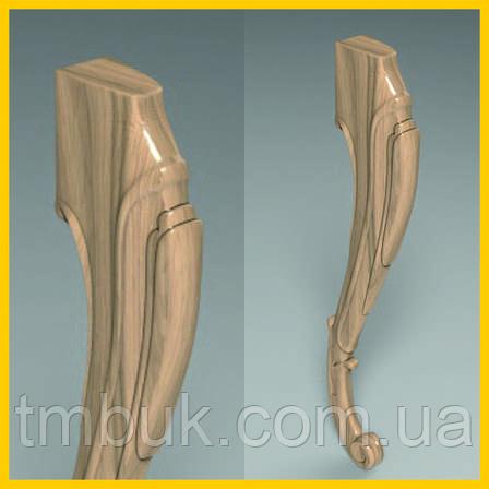 Ножка для стула, стола, консоли гнутая кабриоль с завитками из дерева. 570 мм., фото 2
