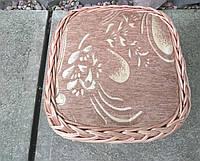 Табурет плетеный квадратный с мягким сиденьем