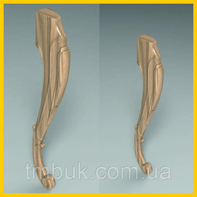 Ножка для стола, консоли гнутая кабриоль с завитками из дерева. 750 мм