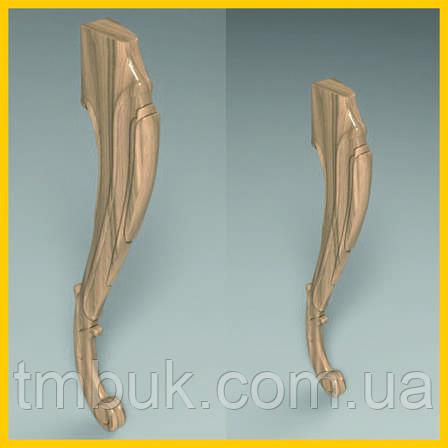 Ножка для стола, консоли гнутая кабриоль с завитками из дерева. 750 мм, фото 2