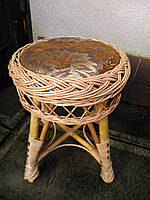 Табурет из лозы круглый мягкий, фото 1