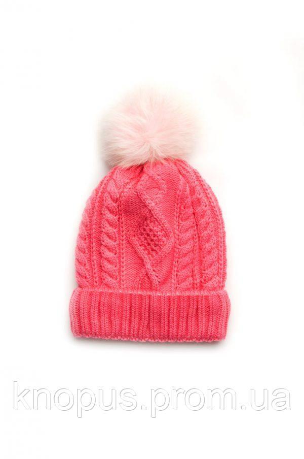 Зимняя шапка для девочки на флисе, малиновая, Размеры 52-54, Модный карапуз