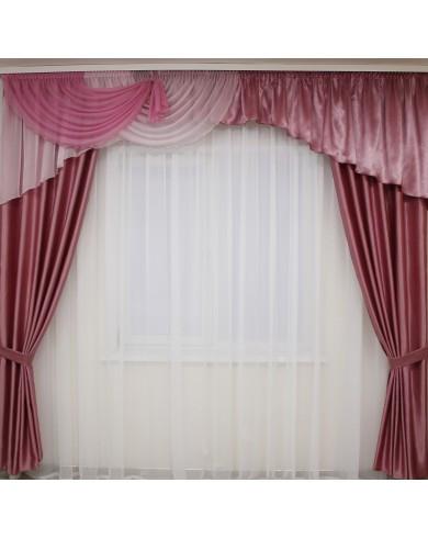 Ламбрекен со шторами   Сиренево - розовый