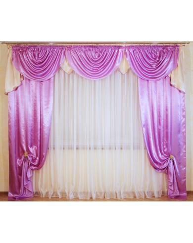 Ламбрекен со шторами   Сиренево - розовый + Крем